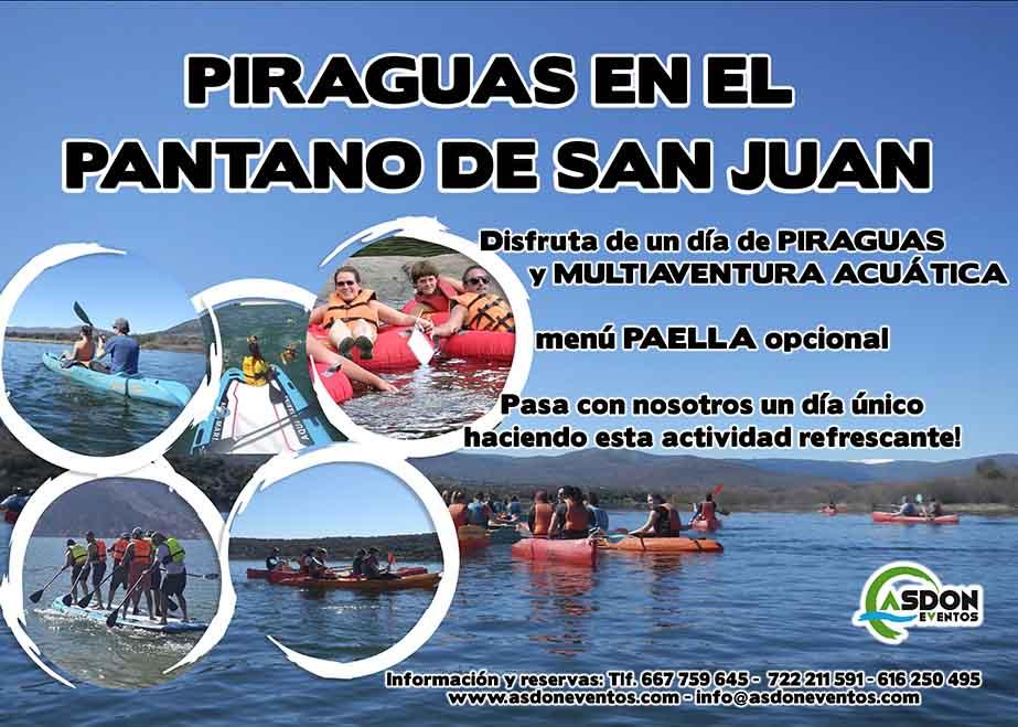 Programa continuo de actividades para empresas, Ruta en piragua en el pantano de San Juan