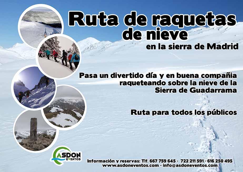 Programa continuo de actividades para empresas, ruta en raquetas de nieve en la Sierra Norte de Madrid